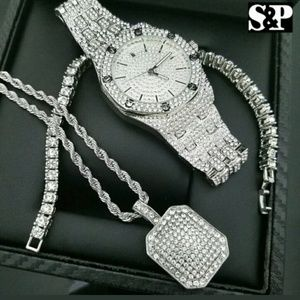 Other - MEN HIP HOP WHITE GOLD PT WATCH & FULL ICED OUT NE